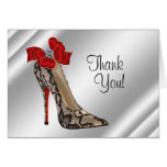 Red Black high Heel Shoe Thank You Cards