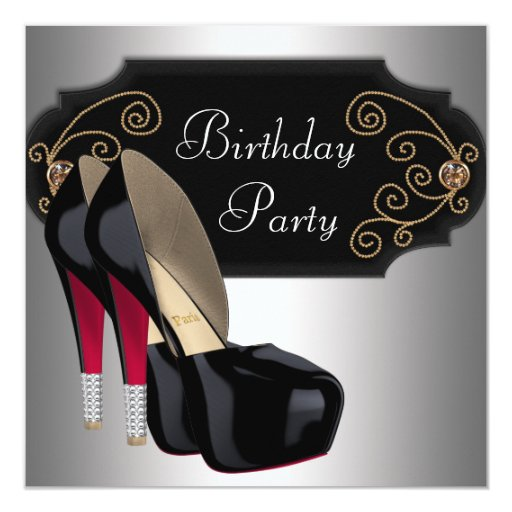 "Red Black High Heel Shoes Birthday Party 5.25"" Square Invitation Card"