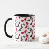 Red Black High Heels Black Bows Pattern Design Mug