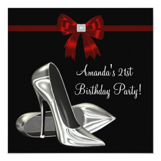 "Red Black High Heels Womans 21st Birthday 5.25"" Square Invitation Card"