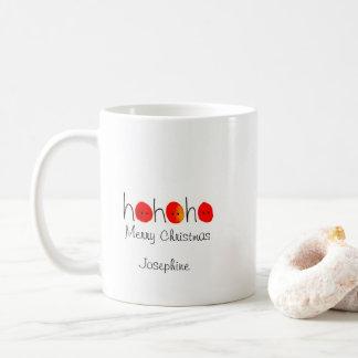Red & Black Ho Ho Ho Hand-painted Christmas Coffee Mug