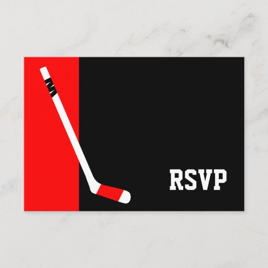 Red Black Hockey Bar Mitzvah RSVP