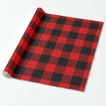 Red Black Huge Buffalo Plaid Lumberjack Tartan Wrapping Paper