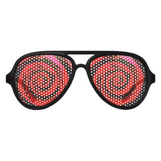 Red & Black Hypnotic Swirl Art Aviator Sunglasses