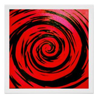 Red & Black Hypnotic Swirl Art Poster
