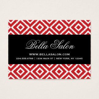 Red & Black Ikat Diamonds Business Card