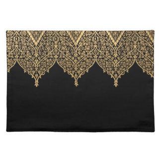 Red Black Indian Motif Lace Vintage Design Pattern Place Mat