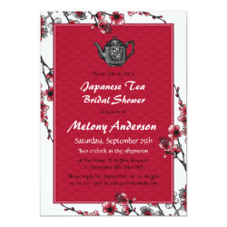 Red Black Japanese Tea Bridal Shower Invitation