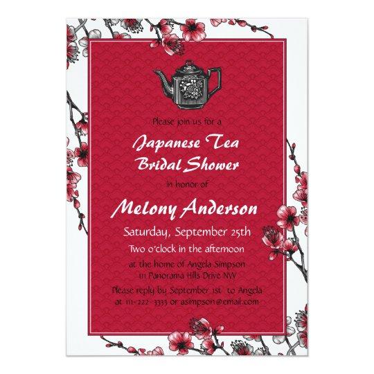 b8028707b095 Red Black Japanese Tea Bridal Shower Invitation