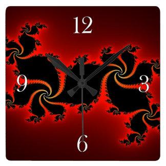Red & Black Julia Fractal Abstract Art Wall Clock
