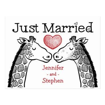 merrybrides Red & Black Just Married Giraffe Love Wedding Postcard
