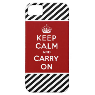Red Black Keep Calm and Carry On iPhone 5 Case Red