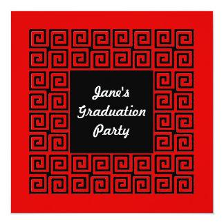Red & Black Key Pattern Party Invitation