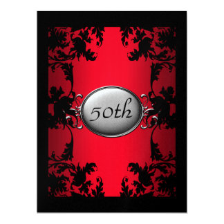 Red Black Lace 50th  Birthday Party Black Card