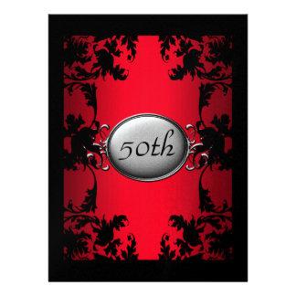 Red Black Lace 50th  Birthday Party Black Custom Invitation