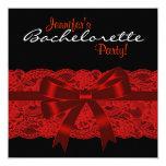 "Red Black Lace Bachelorette Party 5.25"" Square Invitation Card"