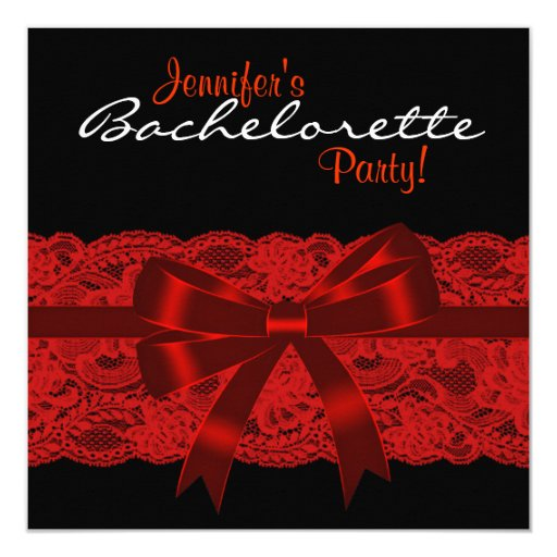 Red Black Lace Bachelorette Party 5.25x5.25 Square Paper Invitation Card