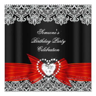 Red Black Lace Bow Diamonds Images Birthday Party Card