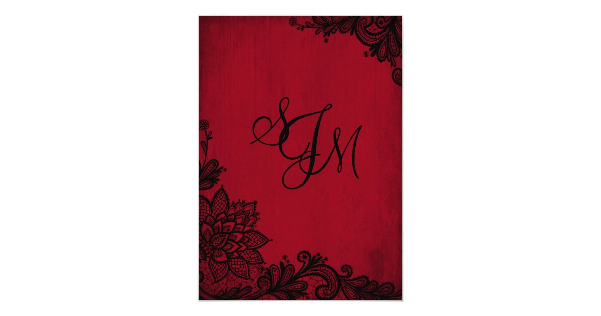 Red And Black Wedding Invitations Templates: Red Black Lace Gothic Wedding Invitation Card