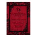 "Red Black Lace Gothic Wedding Invitation Card 5"" X 7"" Invitation Card"