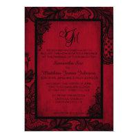 Red Black Lace Gothic Wedding Invitation Card