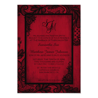 Red Black Lace Gothic Wedding Invitation Card