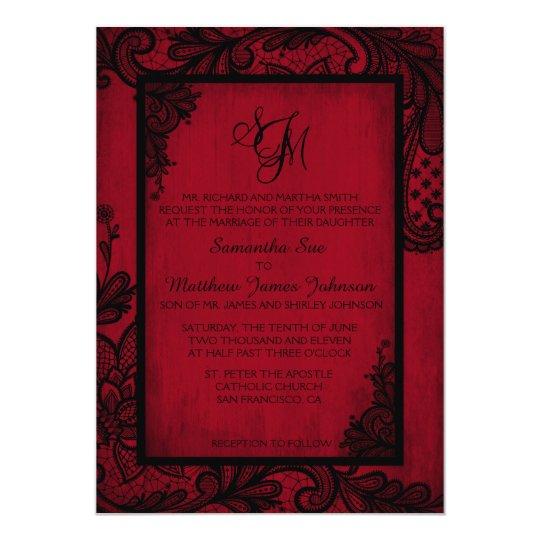 Red Black Lace Gothic Wedding Invitation Card   Zazzle