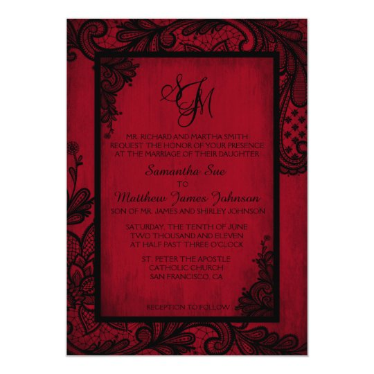 Nice Red Black Lace Gothic Wedding Invitation Card