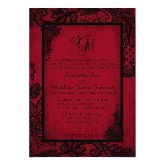 Red Black Lace Gothic Wedding Invitation Card | Zazzle.com