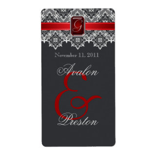 Red & Black Lace Jeweled Wedding Wine Label Shipping Label