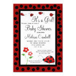 "Red Black Ladybug Baby Shower Invitation Template 4.5"" X 6.25"" Invitation Card"