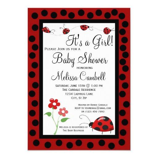 "Red Black Ladybug Baby Shower Invitation Template 4.5"" X 6.25"" Invitation Card"
