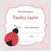 Red Black Ladybug bookplates / bring a book shower