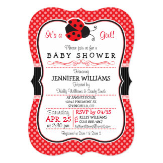 Red & Black Ladybug; Cute Baby Shower Card