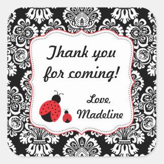 Red Black Ladybug Damask baby shower favor sticker