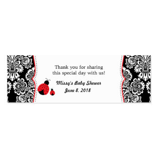 Red Black ladybug damask baby shower favor tag Double-Sided Mini Business Cards (Pack Of 20)