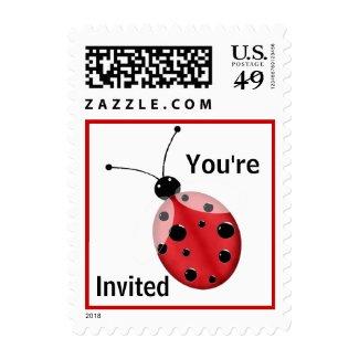Red & Black Ladybug Invitation Stamp