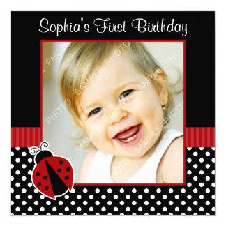 Red Black Ladybug Polka Dot 1st Birthday Photo Card