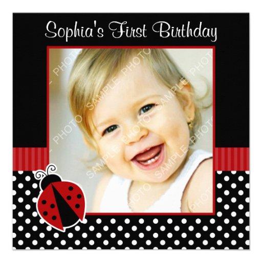 Most Popular 1st Birthday Invitations – Ladybug Photo Invitations 1st Birthday