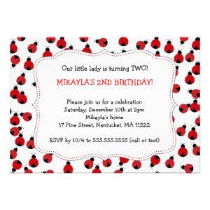 Red & Black Ladybugs Birthday Party invites