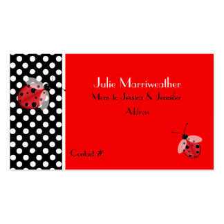 Red & Black Ladybugs Mommy Calling Card Business Card