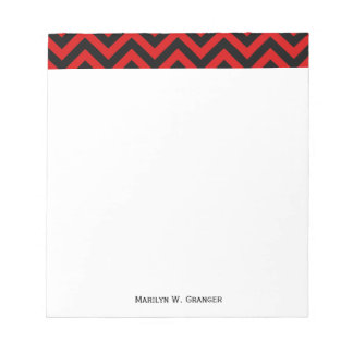 Red, Black Large Chevron ZigZag Pattern Note Pad