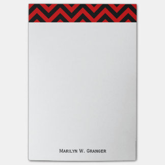 Red, Black Large Chevron ZigZag Pattern Post-it® Notes