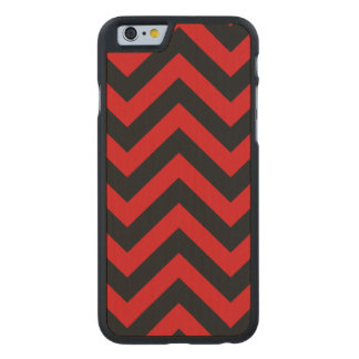 Red, Black Large Chevron ZigZag Pattern Carved® Maple iPhone 6 Slim Case