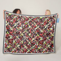 Red Black Lime Green Brush Strokes Art Pattern Fleece Blanket