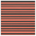 [ Thumbnail: Red & Black Lined Pattern Fabric ]