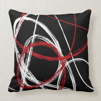 RED BLACK LINES DESIGN Retro Throw Pillow