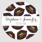 Red Black Lips and Faux Sparkly Gold Grill Teeth Classic Round Sticker