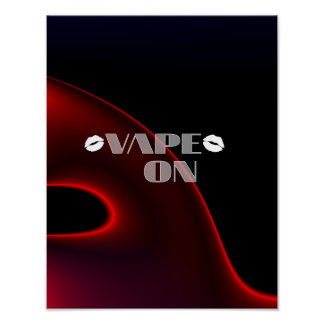 Red Black Lips Vape On Poster