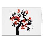 Red black Love birds sakura cherry tree & Blossoms Cards